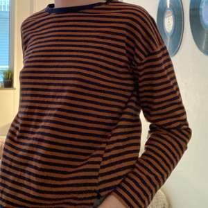 Säljer en cool randig långärmad tröja från Zara, det är en barnstorek man jag kan ha den och jag är vanligtvis XS, pris kan diskuteras!!🐸