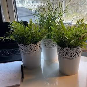 3 st plastväxter i vita metallkrukor som livar upp ett rum. 2st mer verklighetstrogna med blad och en mer konstnärlig. Superbra skick. På bild nr 2 ser ni hur stora de är i förhållande till ett A5 block.
