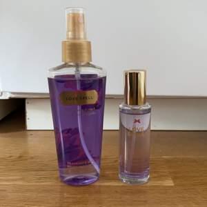 Säljer min en Victorias Secret bodymist och en parfym i doften lovespell. Bodymisten kostar 30kr och parfymen 60kr. Parfymen är endast testad! 💖