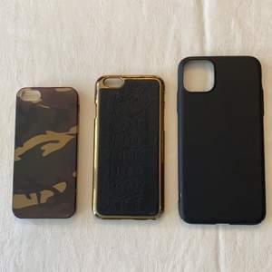 Jag säljer 3 olika skal, militär skalet är till iphone 5, det svarta med guldram runt är till iphone 6 och det svarta är till iphone 11 pro, Militärskalet är knappt använd, det svarta med guldram har jag använder runt 6 gånger och det helsvarta är oanvändt då det var fel storlek