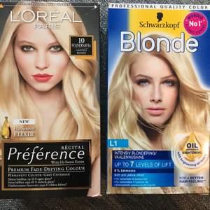 🌟Schwarzkopf Blonde L1 ———————————-Pris på Lyko 95:- Säljer för 50:-   ————————🌟L'oréal Paris Recital Preference 10 Scandinavia Extra Ljusblond ————————————————Pris på Lyko 149:-  Säljer för 50:-   ——————————————————————--Säljer två paket blond hårfärg som inte kommit till användning💆🏼♀️ Dom har dock legat i ca 4 år, vet inte hur lång hållbarhet dom har? Försökt googla men hittar inget. Står inget om datum på förpackningarna heller. Allt är helt oöppnat såklart, har bara öppnat förpackningen och läst bruksanvisningen. 🌸 Fler bilder på innehållet finns att få! ————————————————————— ✨50:-/st eller båda för 80:-✨ frakt tillkommer