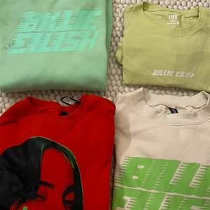 Säljer tjocktröjor av Billie Eilish!100kr för alla utom den gröna t-shirten 60kr och den röda som ni får buda på om ni är intresserade runt 180kr? Kontakta för flera bilder!!🍄🤍kontakta för att diskutera! RÖD SÅLD