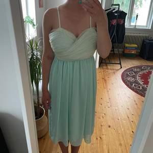 Väldigt fin mid-längd klänning i cool färg. Passar perfekt till bröllop/dop eller liknande. Använd en gång.
