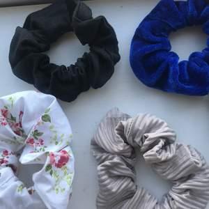 Olika scrunchie, några hemmagjorda, några köpta från glitter
