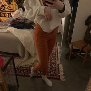 Säljer dessa super coola orangea byxor som jag köpt för ett tag sedan men aldrig använt❤️ Marerialet är stretchigt och känns som tights😊 De är i storlek 40 men är tighta i benen men personligen tycker jag att de är 38, Jag har vanligtvis storlek 36 och är 172 cm❤️ FRAKT INGÅR ALLTID