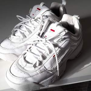 Säljer ett par fila skor, köpt förra året och har används och har små skåmor (skriv för bilder) överlag är det i bra skick och ser hyfsat nya ut. Priset går att diskutera🌻