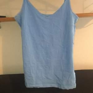Ett linne i en jätte fin blå färg. Jag köpte den för en vecka sedan, men kan dessvärre inte få den på mig. Jag köpte i storlek L men skulle säga att det landar på storlek S.