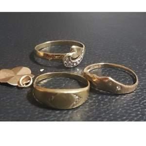 Äkta 18k guld 3  ringer  diamanter  , och en fixade 18k ring med stenar och en   hänge   ringer size är 16.5mm _ 17.5 mm och 18.5_19.5mm