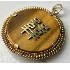 Exklusiv vintage handgjord  Äkta guld tigeröga hänge Storlek 3,3 x 2,7 cm