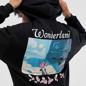 Superfin hoodie med Alice i underlandet tryck på ryggen. Är i så bra skick! Är köpt på asos men är slutsåld överallt nu. Nypris 1000kr.