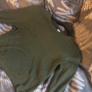 En grön stickad men tunn tröja, fin grön färg (den är svår att visa på bild)