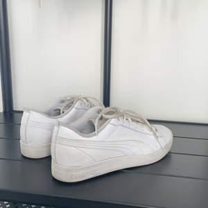 Ett par puma skor i vitt. Dem är endast använda några gånger då storleken var för liten och kunde inte lämna tbx. Dem är i fint skick  därimot är sko snörerna på dem smutsiga men går att tvätta.