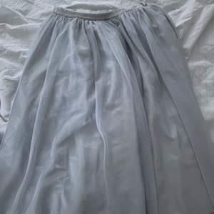 Jätte fint skick, har endast resår i midjan på ena halvan av kjolen, på mig som är runt 1.63 är den till lite över knäna,