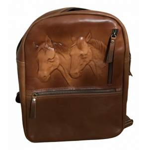 Pelino Leather vintage inspired backpack with horses imprinted in the leather. Great condition, almost never worn.