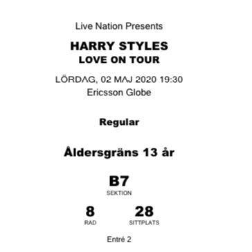 Säljer min biljett till Harry styles Love on tour😇 högsta bud: 1700. Övrigt.
