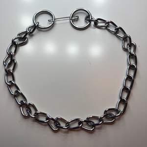 """Ett kedjehalsband som jag gjort själv av ett hundkoppel. Själva """"spännet"""" är säkerhetsnålen. Säljer billigt då det är hemmagjort🥰"""