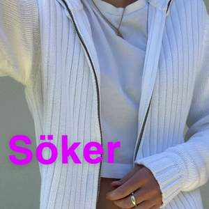Söker en sån här vit zip-up tröja eller liknande! Skriv gärna till mig om du säljer! ☺️☺️ lånade bilder!