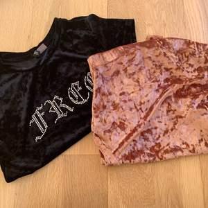 Croppad t shirt 50kr tubtopp,(aldrig använd) 50kr. Båda i velour.