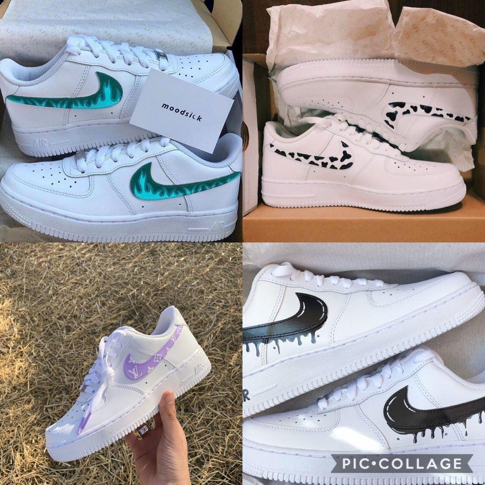 Jag målar Air force 1 i den typ av custom som ni ser på bilderna ovan. Jag köper in skorna för 800kr och målningen ligger på 200-400kr beroende på custom. Kan posta för fraktkostnaden eller mötas i Stockholm⚡️💜🤟🏽. Skor.