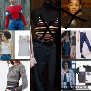 Looking for bill Potts clothes for cosplay. Must be these! ( I am looking for the print shirt, the jacket I've)  Prince T-shirt size S Urban outfitters Red jumper  Topshop fries print top/shirt  Topshop mom jeans size w28-30 Peace Earrings from Claire's. ( även intresserad av liknade.)