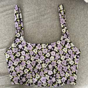 zara top summer floral purple