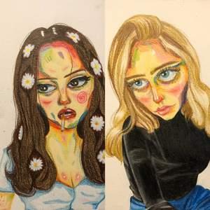 jag säljer porträtt på valfri person. Jag har två olika stilar (bild 1&2 är samma stil och bild 2 är en annan). Bild 1&2 är gjord med akvarellpennor och bild 3 är gjord med promarkers. Pris varierar<3