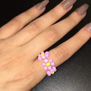 hemmagjorda ringar gjorda av ståltråd och pärlor. Färgerna ser ni ovan :)