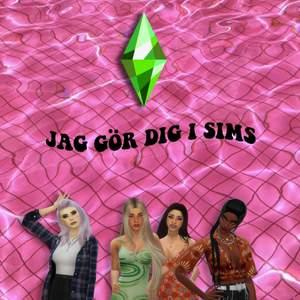Hej! Känner mig uttråkad, och sugen på Sims 4!  Jag kan skapa dig eller någon karaktär som du väljer. Skicka lite inspo bilder eller en selfie så löser jag 💕✨