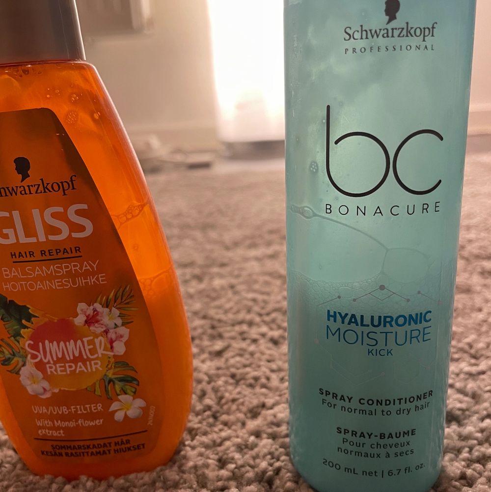 Olika hår produkter!! Använder ej längre☺️på bild två ser ni hur mycket som är kvar i balsamsprayerna❤️Den orange från Gliss fin s inte att köpa mer💖gör av er om ni har frågor om vad produkterna för osv🥰frakten är olika men 12-24kr❤️Proffs Hår Gelé=15kr pluss frakt (typ hela kvar)✨Gliss Repair Summer balsamspray=15kr pluss frakt (se bild två)✨Liten hårspray från Schwarzkopf=5kr pluss frakt (75/75ml kvar) RESERVERAD✨Balsamspray från Schwarzkopf moisture mot torrt eller normalt hår (jätte bra!!)=15kr pluss frakt (ca halva kvar)❤️. Övrigt.