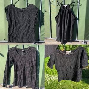 FRAKT INGÅR☀️☀️☀️ Säljer dessa tröjor, 250 för alla fyra tröjor tillsammans inklusive frakt, ish storlek S på alla. skriv om ni är intresserade av mer eller tydligare bilder :) Alla är i olika spetsmönster förutom linnet
