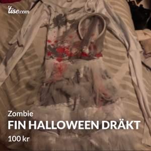 En fin halloween dräkt! Stl XS. Den ska föreställa en bröllops zombie, bröllopsslöja tillkommer! Köpt för 250 säljer för 100 använd Max 3 ggr. Så skulle säga att den är i nyskick! Frakt tillkommer!