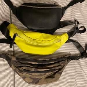 säljer några magväskor som jag inte använder längre 💕 den svarta och gula är från don donna och den tredje är från bikbok 🥰 alla kostar 70kr styck, DEN SVARTA ÄR SÅLD!
