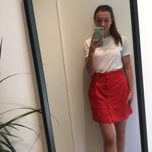 Hallonröd kjol från Zara i stl M. Kjolen är liten i storleken och är mer som stl S. Kjolen slutar ungefär 10 cm från knät, jag som bär kjolen är 161 cm. Endast använd ett fåtal gånger så den är sparsamt använd. Säljes för 50 kr + frakt.