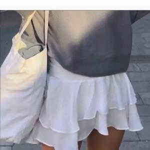 Säljer min helt oanvända, vita volangkjol. Sjukt trendig och snyggt att ha till ett par strumpbyxor! Säljer p.g.a att det inte är min stil. Storlek S (Lånad bild)🌟