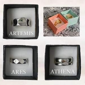 Justerbara unisex ringar i 925 sterling silver🤍 Athena och Artemis finns i guld och silver. Ares finns endast i silver😋😋 @olympia.rings på instagram!