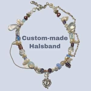 Beställ halsband från mig!💗 Kan återskapa redan gjorda halsband eller skapa ett utifrån dina önskningar av färger, berlocker mm. eller från inspobilder! Gjorda av unika glaspärlor, sötvattenspärlor och enstaka plastpärlor. Bilderna är exempel på halsband jag gjort åt andra, priset varierar runt 130kr (frakt ingår alltid i priset❤️), du väljer själv längd och design på halsbandet!💕🧚🏼♂️💫🤎