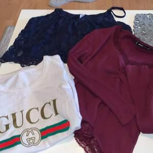Fake Gucci tröja i vitt (50 kr) . De resterande tröjor är korta / magtröja (30 kr styck). Båda magtröjor är från new yorker.