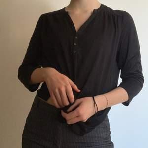 Väldigt basic svart tröja, men fin ändå! Passar till allt, lätt att stajla, skönt material. Lite nopprig på undersida arm, men annars i ett väldigt gott skick!