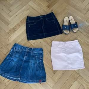 Säljer alla dessa fina somriga kjolar i olika storlekar från xs - m. Skriv t mig för flera bilder på individuella plagg! Sandalerna är storlek 39. Sandaler - 65kr, mörkblå kjol 50 kr, rosa kjol 40kr. Den ljusblåa är såld!