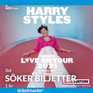Jag söker 3st biljetter till Harry Styles- LOVE ON TOUR i globen i Stockholm den 1 mars 2021. Kan betala nästan vad som helst. Säljer du ett annat antal biljetter så hör jättejättegärna av dig till mig. Möts gärna upp om du inte bor för långt bort!