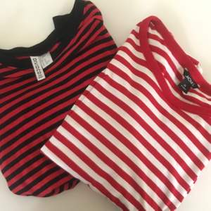 Säljer två supersköna tröjor! Den vit-randiga är lite större och den svart-randiga är lite mindre, men båda är i XS. Köparen står för frakten💗