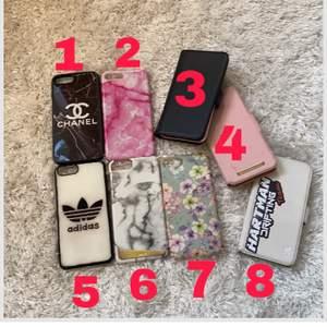 1-40kr, 2-30kr, 3-plånboksskal(dubbelt) plats för kort &  en spegel finns i, löstagbart rosa innerskal, 4-plånboksskal ideal of sweden med löstagbart svart innerskal 70kr, 5-30kr, 6- holditskal 40kr, 7-40kr, 8-80kr (klistermärke kan tas bort)