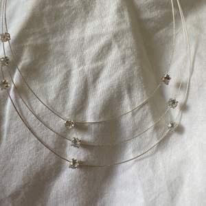 Ett silvrigt halsband med små diamanter på. Aldrig använt, bara testat