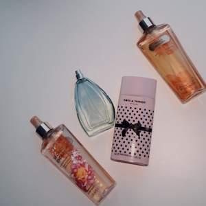 Säljer dessa fyra parfymer från märkena: Yves rocher, Victoria's Secret och Dots & Things for Women. Se bild 2 för att se hur mycket det finns kvar🦋 Yves rocher parfymen är en märkesparfym med en ganska stark fräsch doft, Dots & Things är även den en stark parfym som luktar länge! 🤍 Båda Victoria Secrets parfymerna har en söt doft, luktar som godis🥰Priset på varje parfym är olika så kontakta vid intresse✨