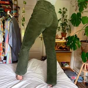 Vintage manchesterbyxor i en fin mossgrön färg. Skön passform som formar rumpan fint🍀 jag är ca 170cm lång och byxbenen slutar vid min fot. Står som strlk 40 men tycker de passar som 36-38. Är i fint skick utan fläckar & hål. Frakt inkluderat i priset!