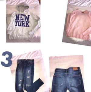 1- oanvänd huvtröja. Storlek S/M, 70kr. 2- ljusrosa tröja i bra skick, storlek S, 55kr. 3- jeans i storlek S, 45kr.