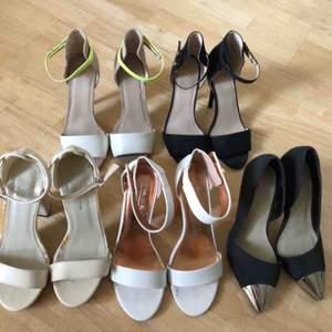 Alla i storlek 36 och alla är i fint skick och använda ett fåtal gånger. Ca 9-10cm klack på alla. Ljus ner till vänster ha en liten platå framtill. Pris per sko! Köparen står för frakten!
