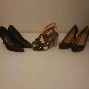 Snygga skor med klack! Använda 1 gång och säljs pga för stora för mig! Alla tre för ett pris!