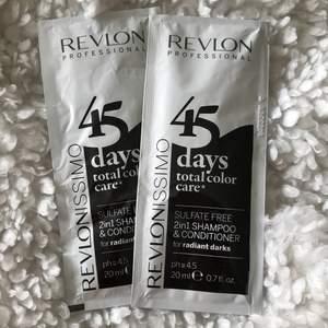2in1 shampo och balsam från Revlon. Hittade dessa oanvända som jag inte har användning av. Bra för färgat hår, som behöver vård, samt pH-värde som inte sliter. Vill bara få iväg dem. 15kr för båda.