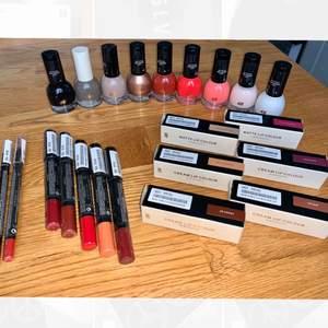 Helt NY! H&M Makeup (allt för 800 kr)  Nail polishes Lipsticks Lip definer   Allt är självklart oanvänt och äkta!